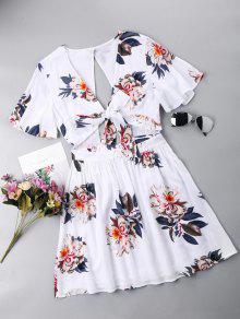 فستان ربطة المقدمة مفتوحة الظهر - أبيض L