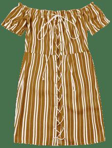 Amarillo Vestido A S De Rayas Encaje Zwz6Sw