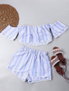 Con Pantalones Con Corto Azul Y Top Hombros Capas Descubiertos S Cortos Claro SwXqn0Tx