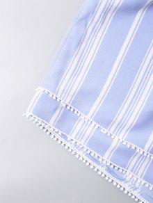 Y Claro Cortos Descubiertos Pantalones Hombros Con Capas S Azul Top Con Corto YpxqIIv