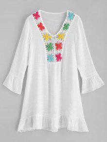 الكروشيه لوحة الكشكشة شاطئ اللباس - أبيض