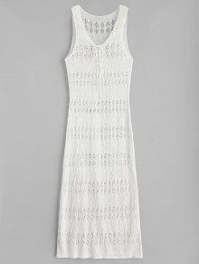 شق الجانب ماكسي فستان كروشيه الشاطئ - الأبيض الدافئ