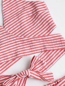 Pantalones Top Conjunto Rojo Frijol Seersucker Con Rayas Cortos De M Y rff6wx5Iq