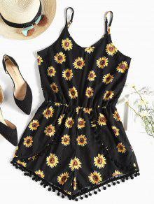 Pompom Sunflower Cami Cute Romper - أسود L