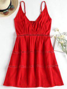 فستان قطع توهج كامي - أحمر M