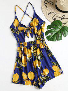 12a90ad05add 16% OFF  2019 Lemon Print Strappy Tie Front Romper In NAVY BLUE