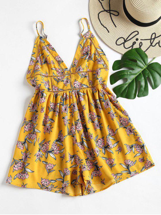 Romper de cami perna larga floral - Amarelo M