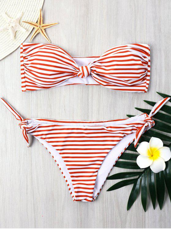 affordable Striped Tie Side Bandeau Bikini - RED L