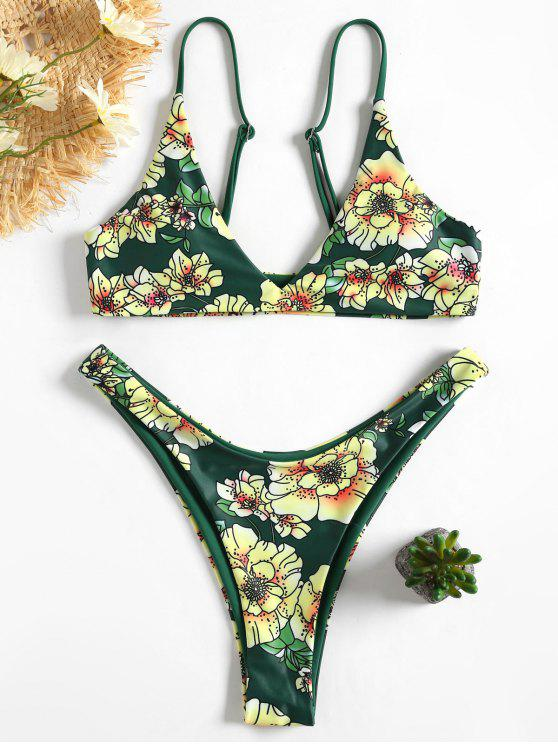 Floral Cami Bra y High Cut Swim Bottoms - GREEN S