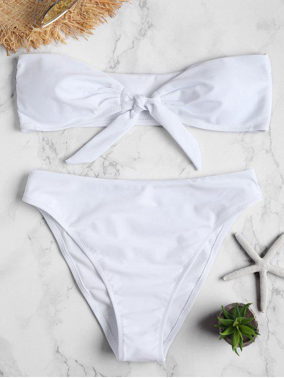 Bandeau hohe Schlitz Bikini Set - Weiß L