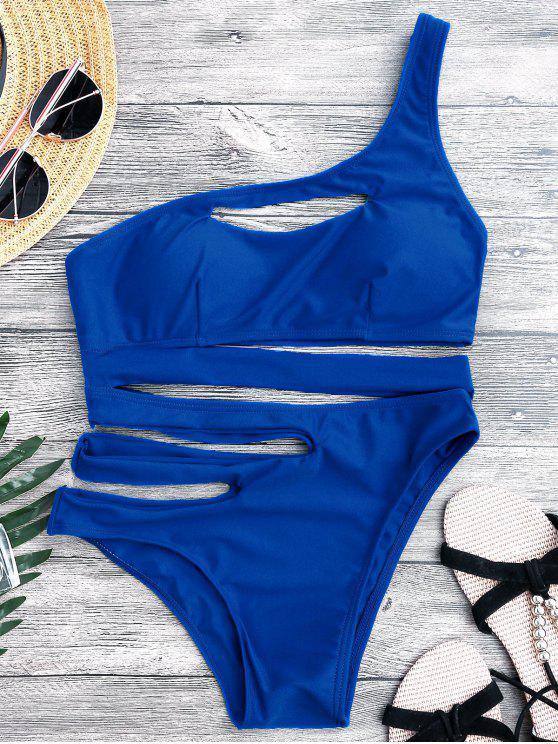 Bandage Maillot de Bain Monokini 1 Pièce Asymétrique - Bleu S