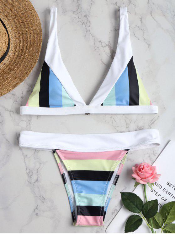 Conjunto de bikini con pliegues a rayas en el arco iris - Multicolor S