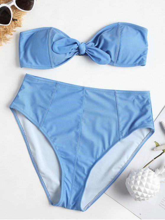 Conjunto de bikini de talle alto con adornos vintage - Azul Cristal S