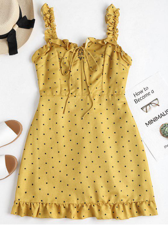 Mini vestido de bolinhas babados - Vara de Ouro L
