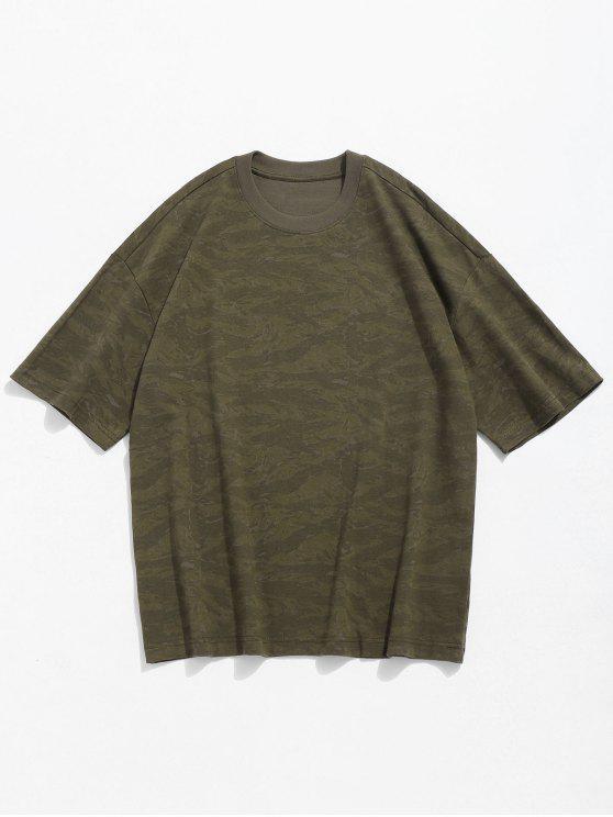 T-shirt em torno do pescoço de impressão de Camo - Verde de Camuflagem L