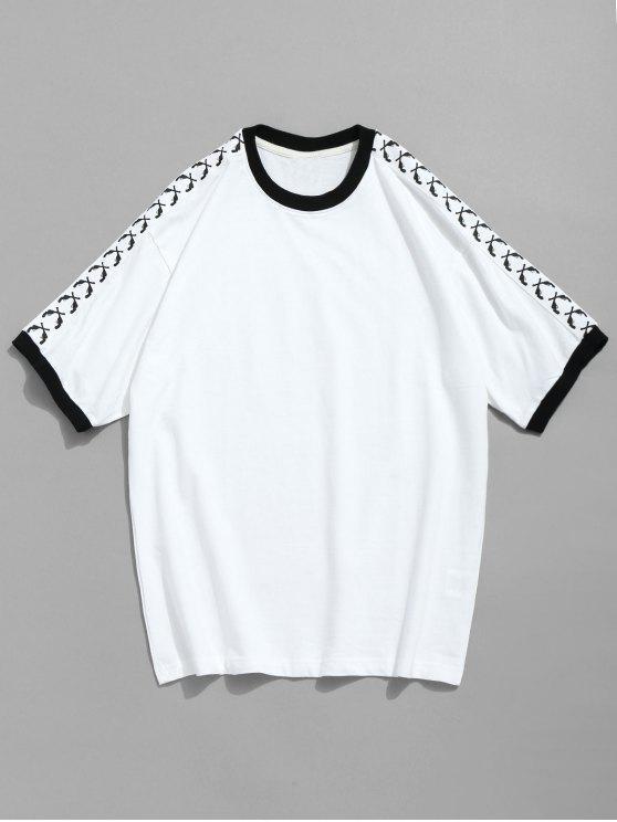 T-shirt de algodão de manga curta com contraste - Branco 2XL