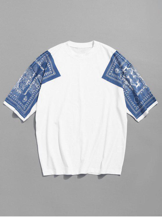 Camiseta con estampado de algodón con estampado de hombros - Blanco L