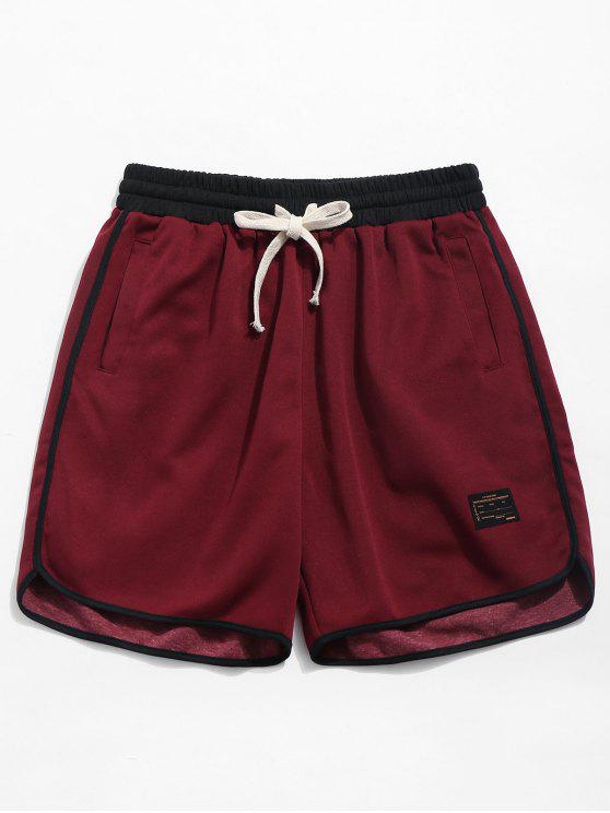 buy Contrast Trim Drawstring Sport Shorts - RED WINE S