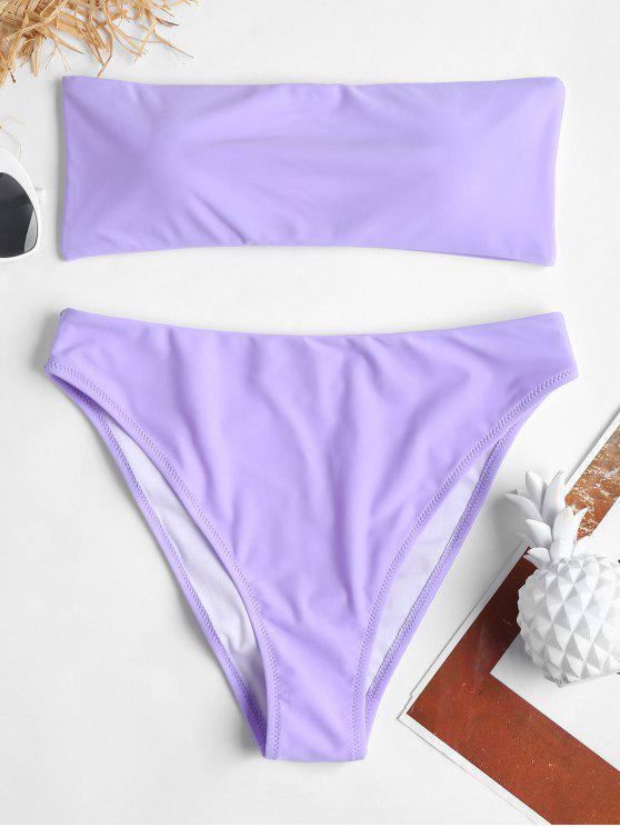 hot Tube High Leg Bandeau Bikini - MAUVE M