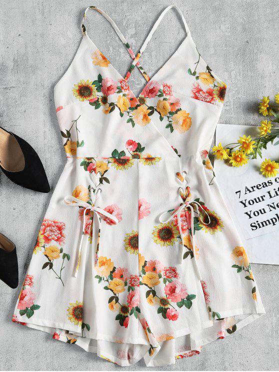 buy Backless Floral Wide Leg Romper - WHITE L