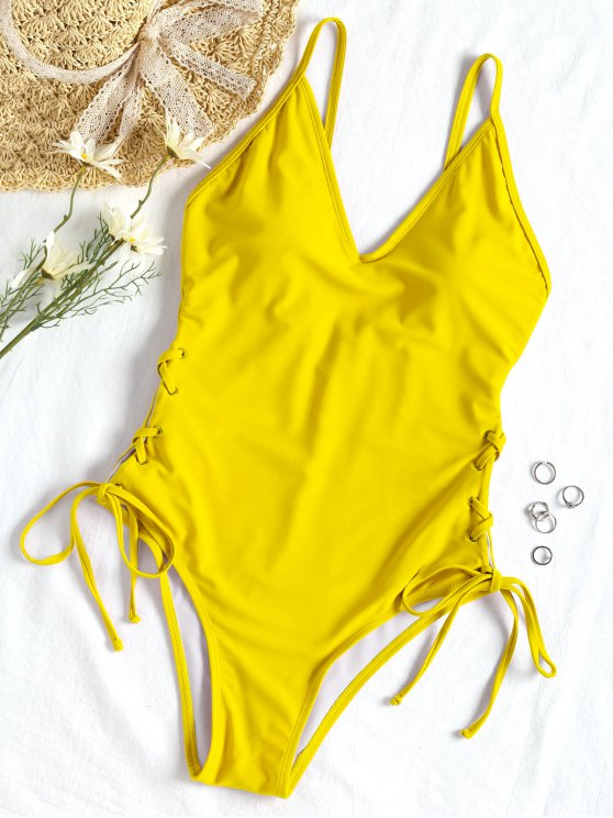 ladies Lace-up One-piece Swimsuit - YELLOW L
