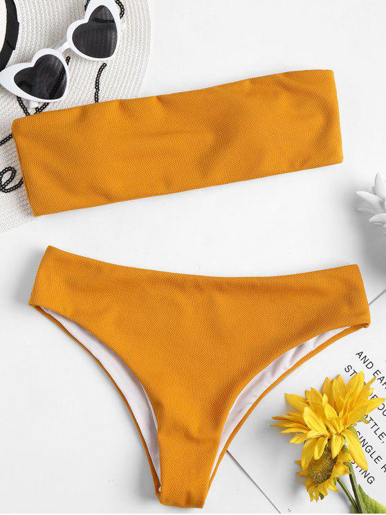 outfits Textured Bandeau Bikini Set - SCHOOL BUS YELLOW M