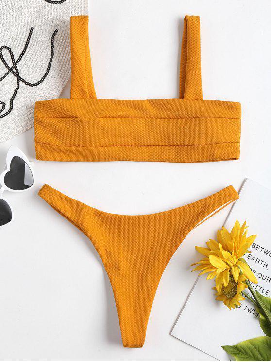 unique Textured Thong Bikini Set - SCHOOL BUS YELLOW S