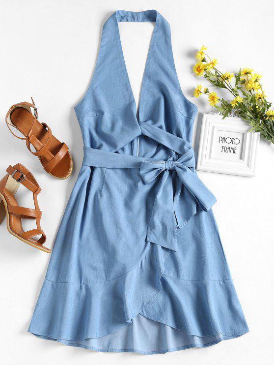 عارية الذراعين الكشكشة اللباس الرسن - ازرق فاتح L