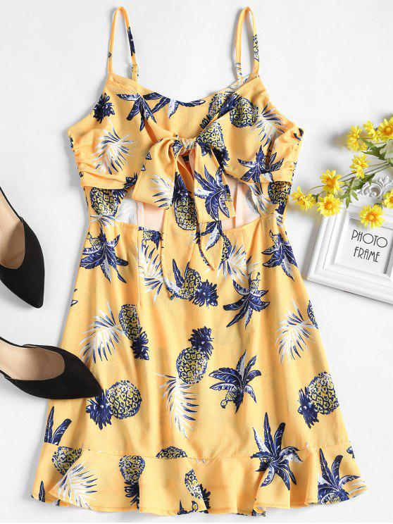 trendy Pineapple Print Tied Front Cami Dress - SUN YELLOW M