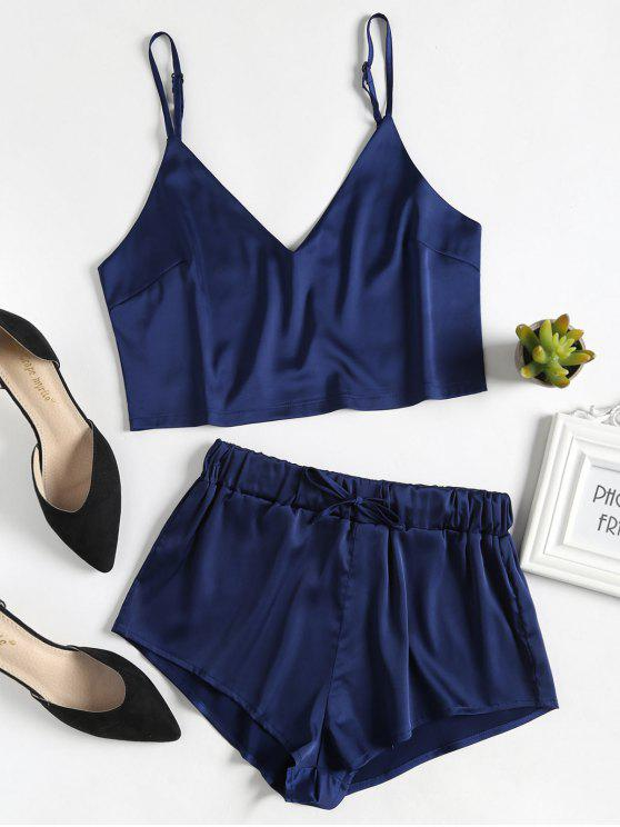 trendy Cami Top and Shorts Satin Pajama Set - MIDNIGHT BLUE S