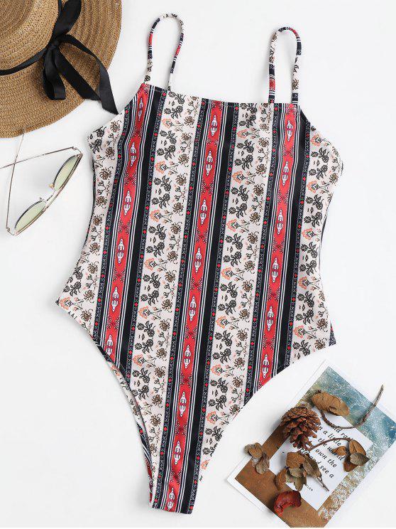 مطبوعة عالية قطع ملابس السباحة - متعدد M