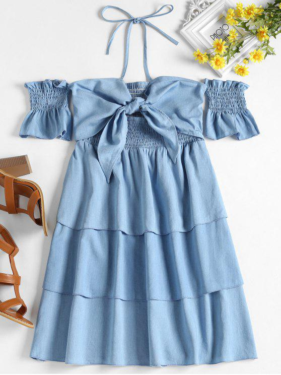 outfits Tied Front Layered Dress - JEANS BLUE L