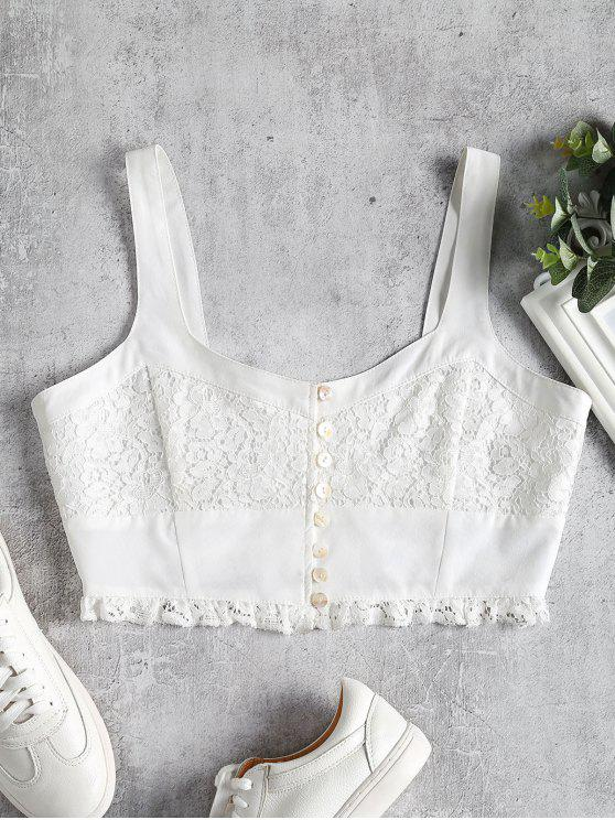 fashion Pearly Button Lace Inset Crop Top - WHITE M