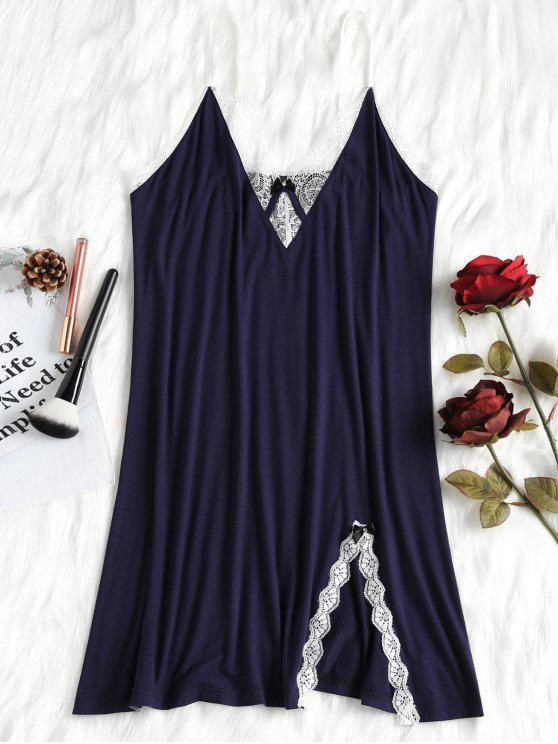 Blumen Spitze Trim Nachthemd - Dunkles Schieferblau XL