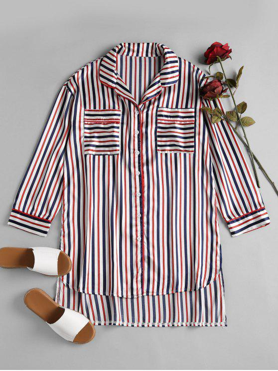 women Striped Satin Sleep Shirt - MULTI L