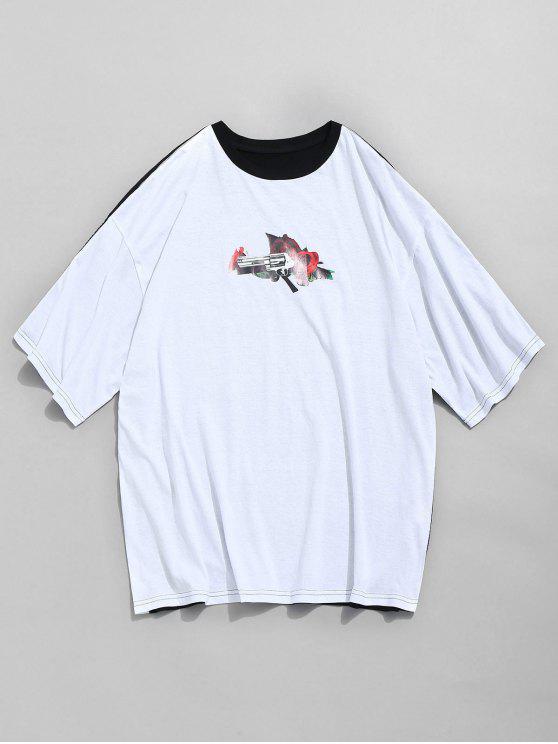 T-shirt à contraste rose et imprimé contrastant - Multi-A S