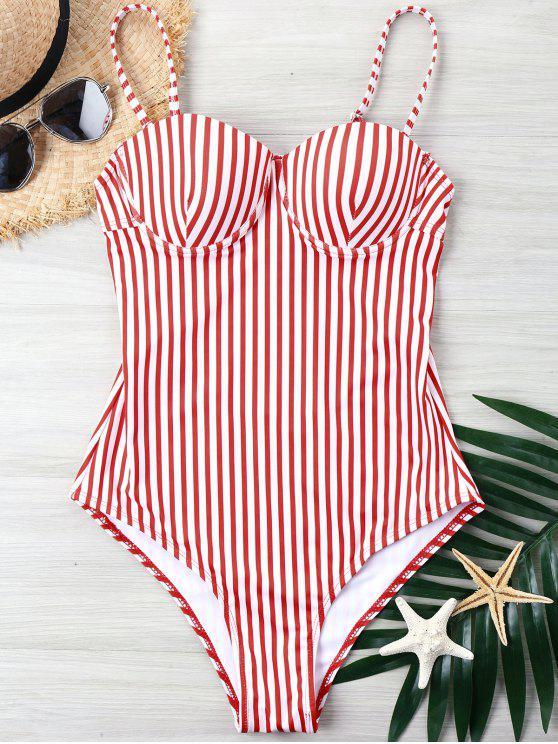 مقلم قطع عالية قطعة واحدة ملابس السباحة - أحمر XL