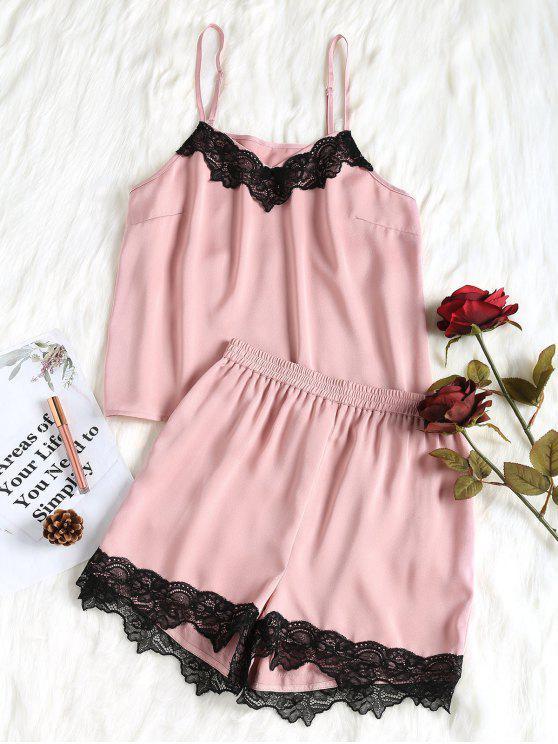 Conjunto de pijama de renda - Rosa Claro XL