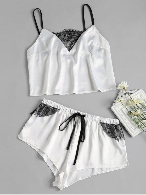 buy Lace-detail Satin Pajama Set - WHITE L
