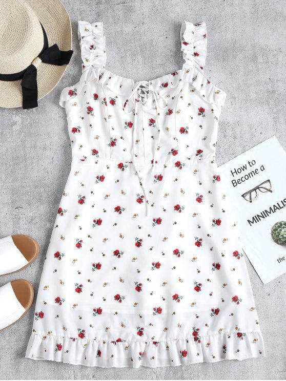 Vestido mini con volantes y volantes - Blanco L