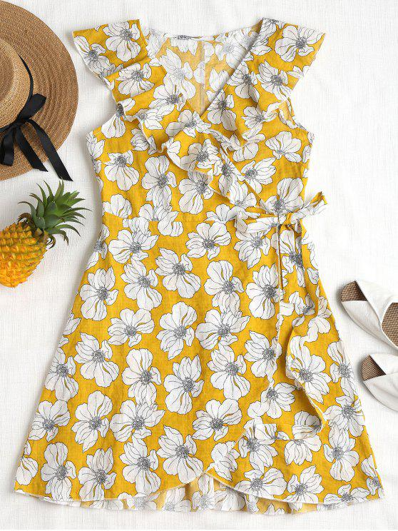 outfit Ruffles Floral Wrap Dress - MUSTARD L