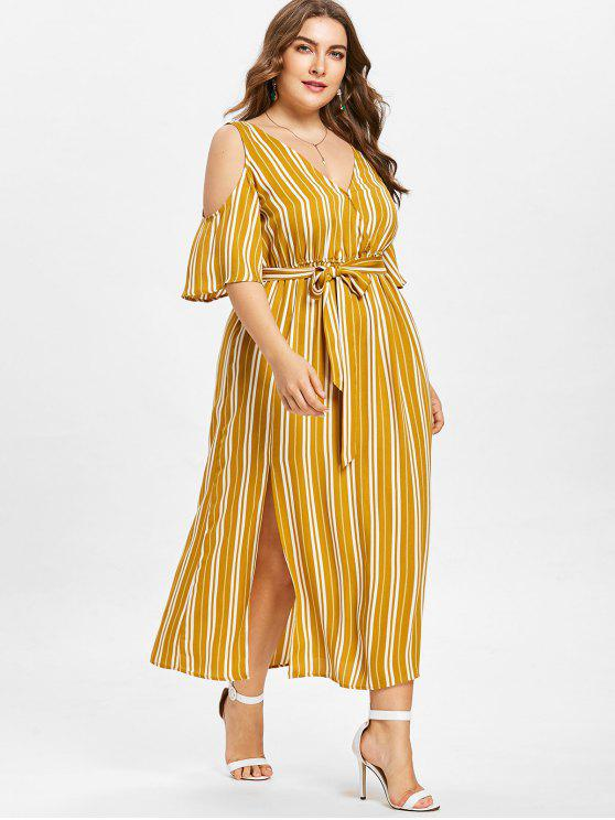 ladies Plus Size Striped High Split Dress - BEE YELLOW XL