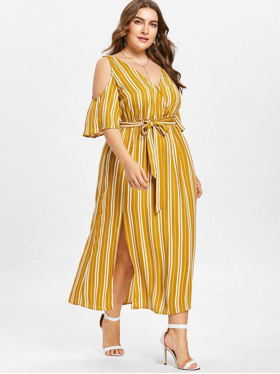 latest Plus Size Striped High Split Dress - BEE YELLOW 4XL