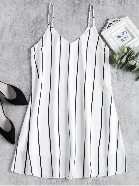 fashion Striped Midi Shift Slip Dress - WHITE S