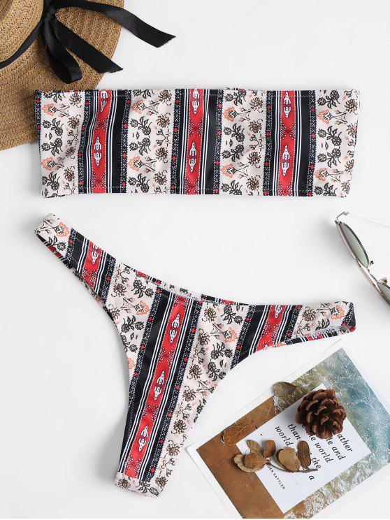 Conjunto de Bikini de Tanga Impresa con Cordones - Multicolor L