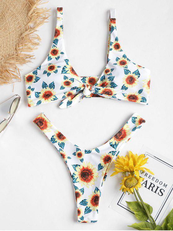 Bikini de corte alto con nudo de girasol - Blanco S