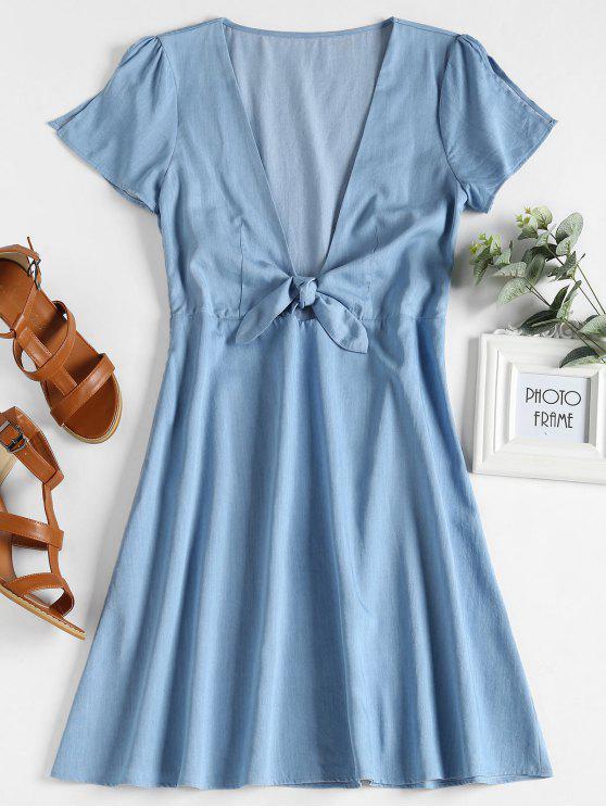 best Low Cut Knotted Dress - DENIM BLUE S