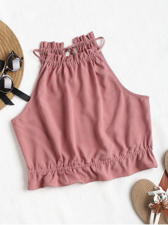 fashion Ruffles Crop Tank Top - LIPSTICK PINK S