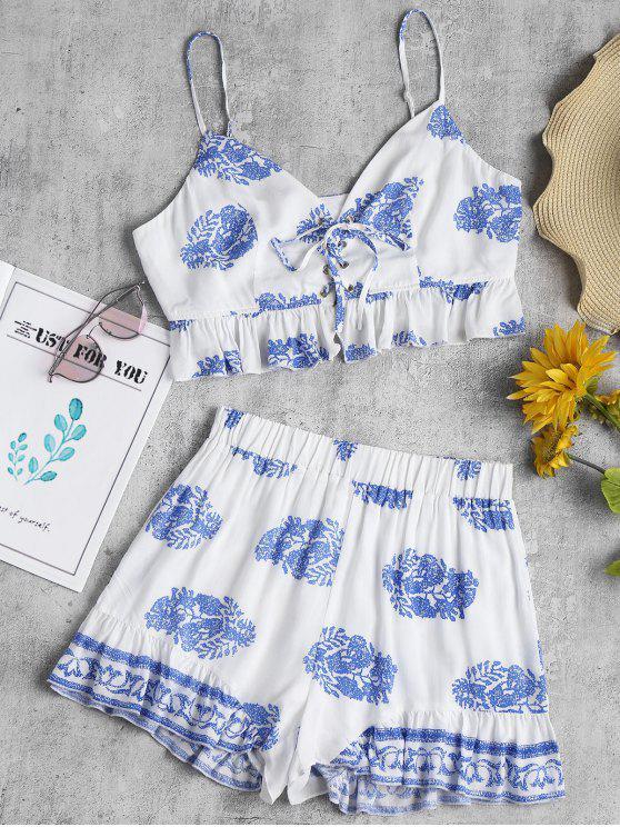 unique Printed Lace Up Shorts Set - WHITE M
