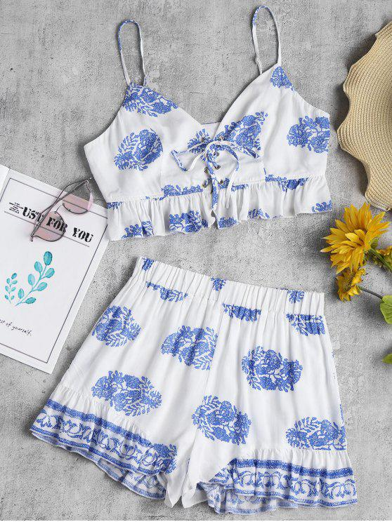 sale Printed Lace Up Shorts Set - WHITE L